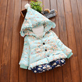 New arrival cold winter baby girls clothing child flower plus velet wadded jacket kids cotton-padded thick coat outerwear