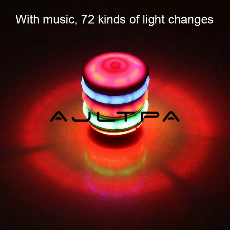 Interesting Children's Toy Colorful Flash LED Light Spinning Top Laser Music Gyroscope Kid's Wood Luminous Music Gyro