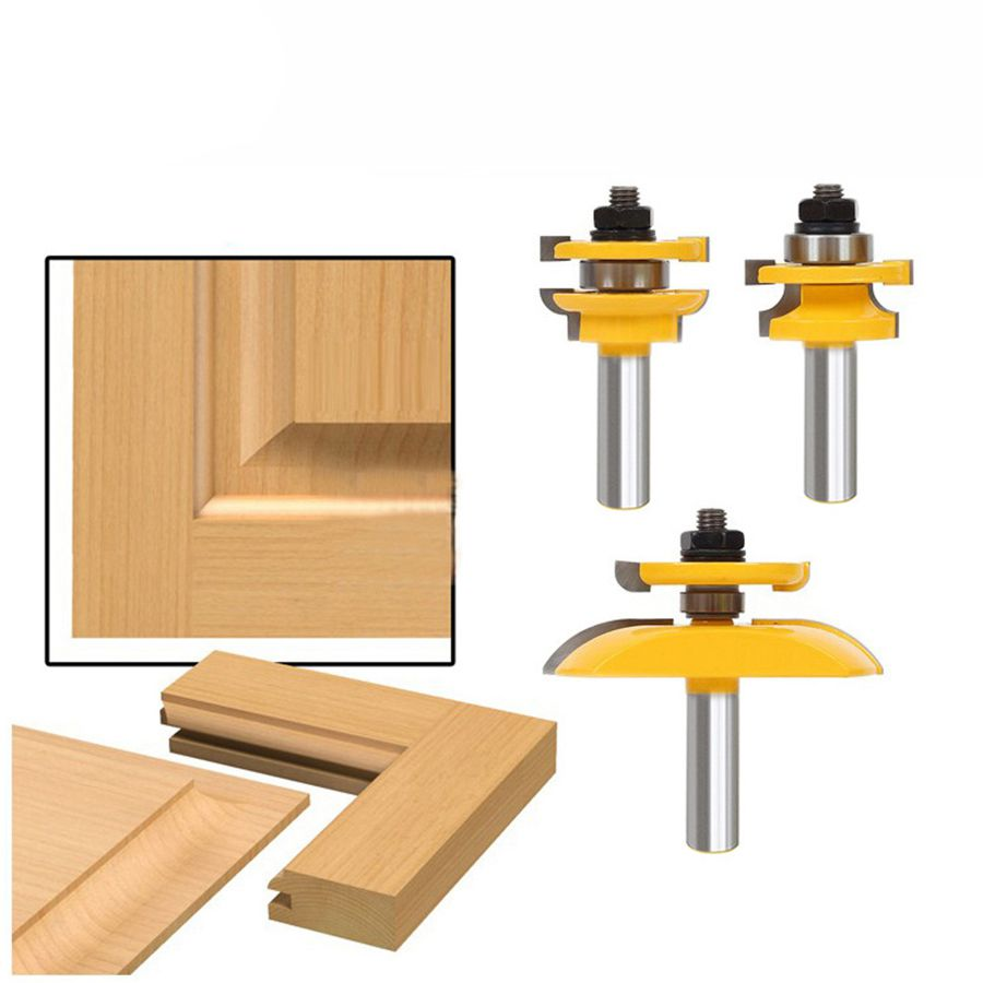 3Pcs 1/2inch Shank Rail & Blade Cutter Panel Cabinet Router Bits Set Milling cutter Power Tools Door knife Wood Cutter цена