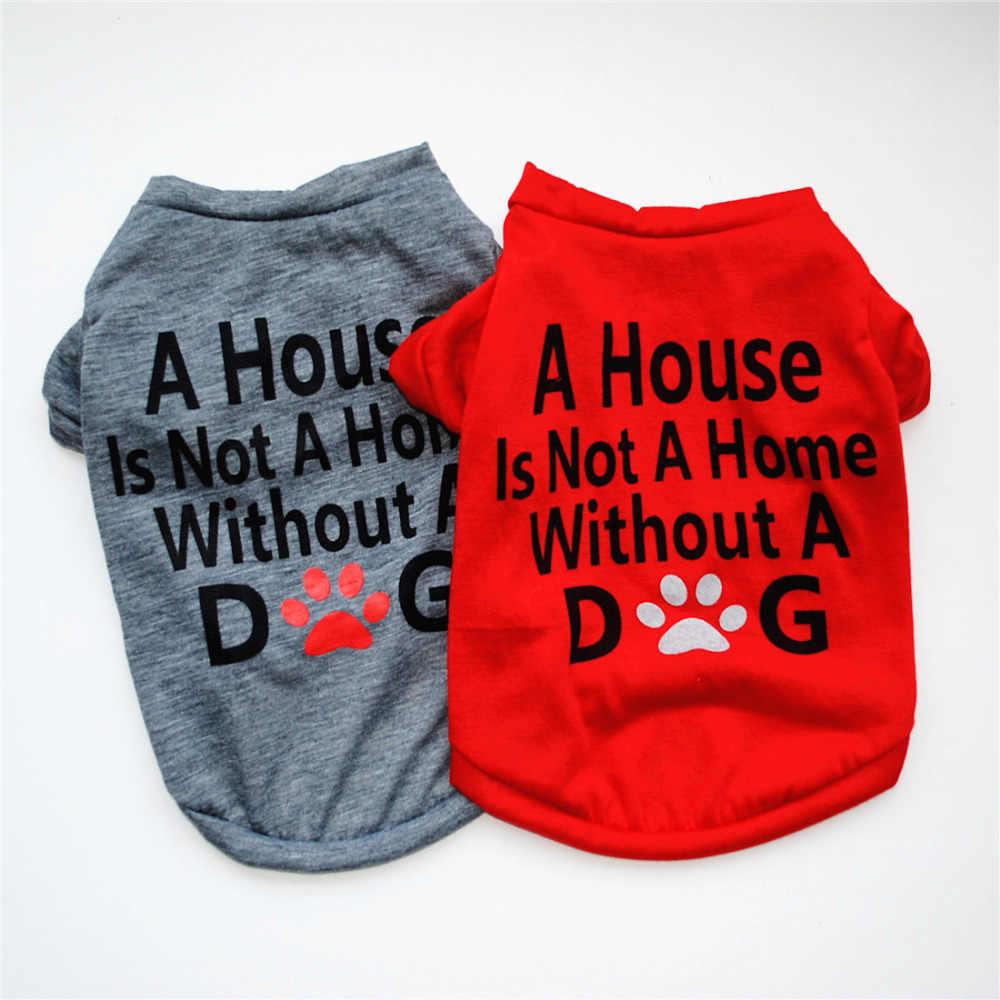 Милый жилет для собак с буквенным принтом 2018 летние для домашних животных собак Одежда для плюшевый Пудель маленькие собаки хлопок Кошки Футболка со щенком одежда для домашних животных