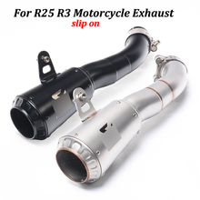 Full Exhaust System Motorcycle Exhaust Muffler Modified With AK Laser Marking Slip on For Yamaha YZF-R3 R25 MT03