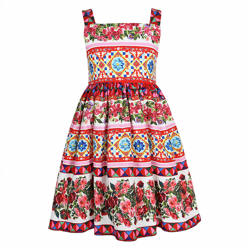 Princess Dress for Girls Clothes Character Printed Robe Fillette Costumes for Children Clothing 2017 Brand Girls Dresses Kids 5 new girls dress brand summer clothes ice cream print costumes sleeveless kids clothing cute children vest dress princess dress
