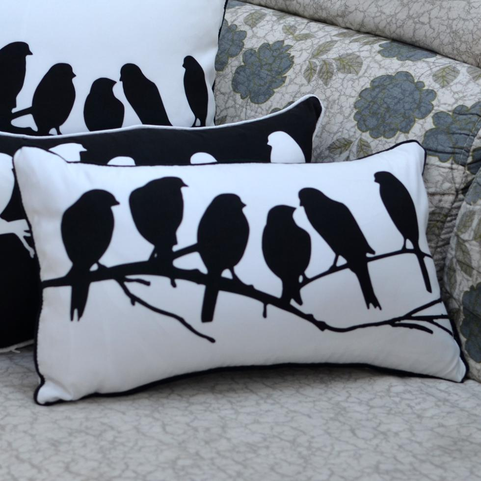 30 50 cm decorative black white bird printed throw pillow for Sofa 50 cm sitzhohe