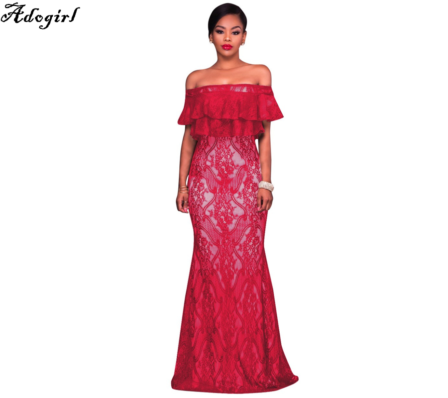 Adogirl Red Bardot Lace Fishtail Maxi Dresses Summer Spring Short Sleeve Off Shoulder Retro Lace Dress 2018 Robe De Soiree