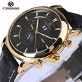 Forsining Men Watch Top Brand Luxury Automatic Male Wrist Watch 2017 Luxury Rose Golden Series Moon Phase Calendar Design Clock