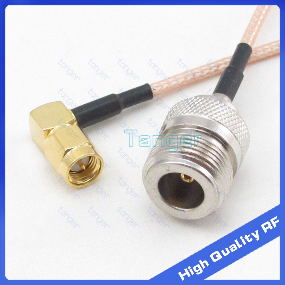 New Right angle SMA male plug to straight N female connector with RG316 RG 316 Coaxial Pigtail Jumper RF cable 3ft 40inch 100cm|plug connector|sm plug|l connector - title=