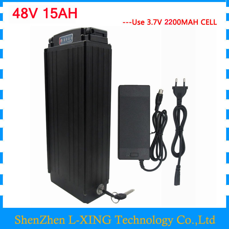 48V 15AH electric bike battery 48V Rear Rack battery 750W ebike lithium ion battery with Tail light 20A BMS 54.6v 2A charger