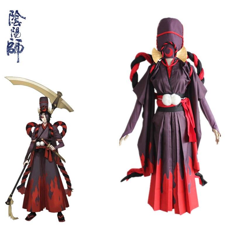 Popular Onmyoji Game Reaper Black Meikai No Yakujin Satin Cosplay Costumes Fancy Kimono Full Set For Halloween Carnival Party