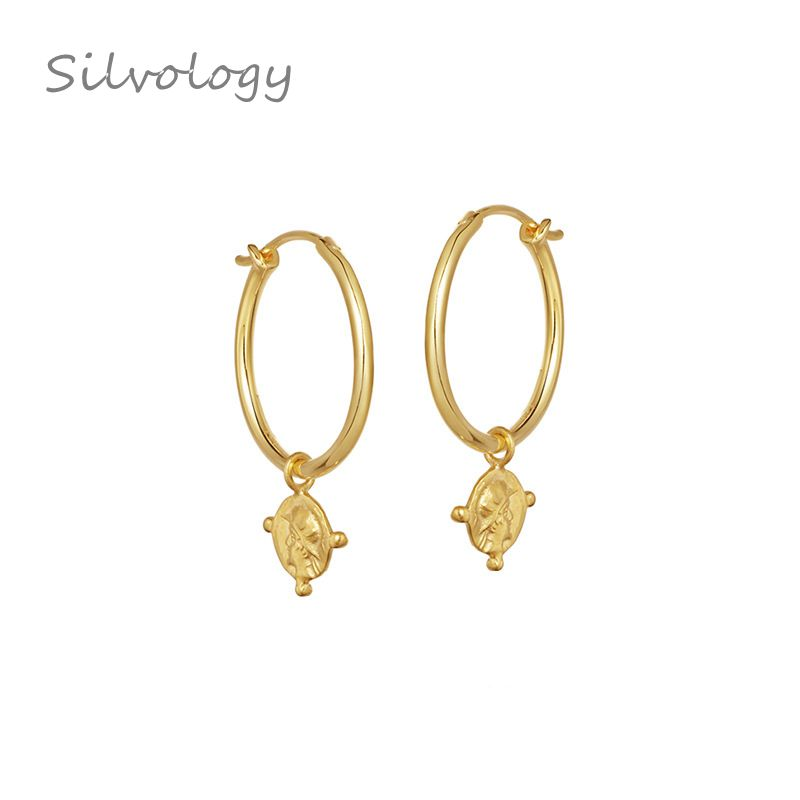 Silvology Trend Figure Big Circle <font><b>Earrings</b></font> <font><b>Gold</b></font> Emboss Coin 925 Sterling Silver <font><b>Drop</b></font> <font><b>Earrings</b></font> For Women <font><b>Elegant</b></font> <font><b>Jewelry</b></font> Gift New image