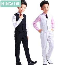 b2d78a380 Vestido formal para niños conjuntos de otoño camisa de niño + chaleco +  Pantalones de escuela