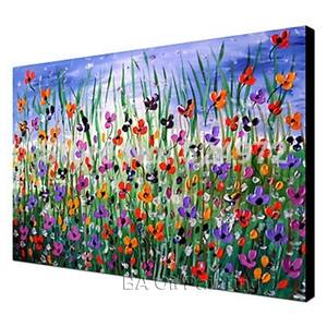 Image 5 - Free shipping cheap 100% Hand painted modern home decor wall art picture many flowers thick palette knife oil painting on canvas