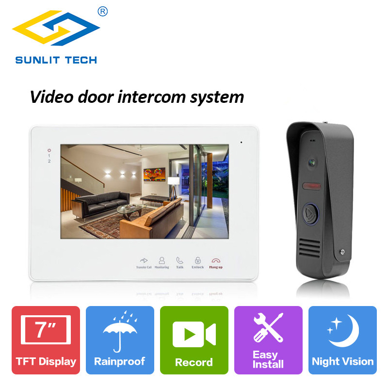 New 7 inch Video Intercom Home Video Door Phone Doorbell Monitor Outdoor Camera IP65 Intercom Door Entry Access System Security yobang security free ship 7 video doorbell camera video intercom system rainproof video door camera home security tft monitor
