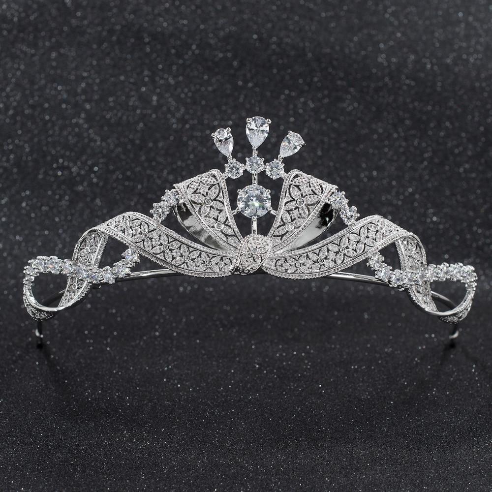 2019 New Crystals CZ Cubic Zirconia Wedding Bridal Bow Tiara Diadem Crown Women Prom Hair Jewelry