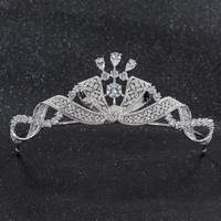 2019 New Crystals CZ Cubic Zirconia Wedding Bridal Bow Tiara Diadem Crown Women Prom Hair Jewelry Accessories CH10261