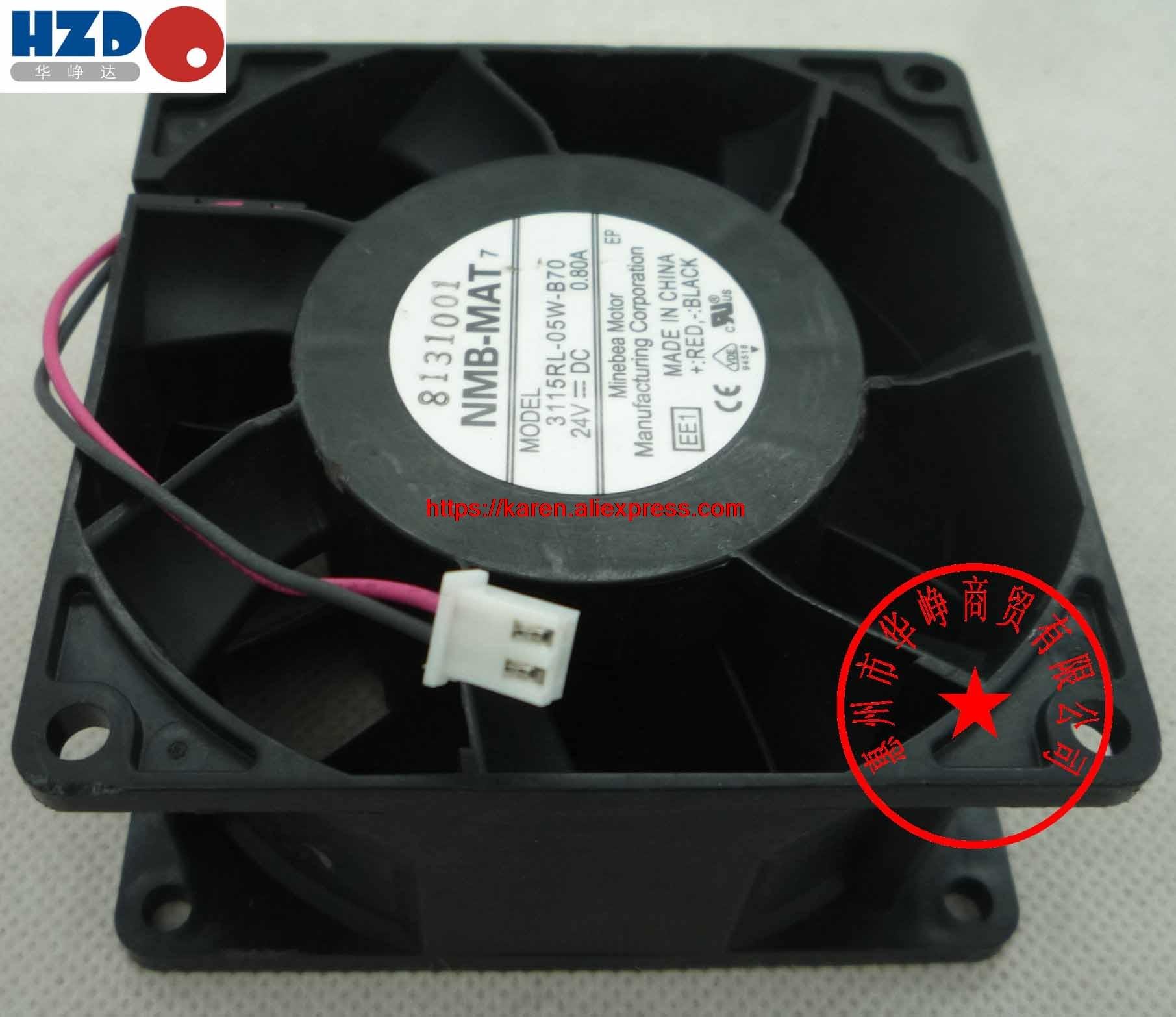 NMB 3115RL-05W-B70 0.8A 8cm 8038 24V 0.9A MGT8024YB-W38 Cooling fan nmb 3610kl 05w b49 9225 24v 3 wire cooling fan blower