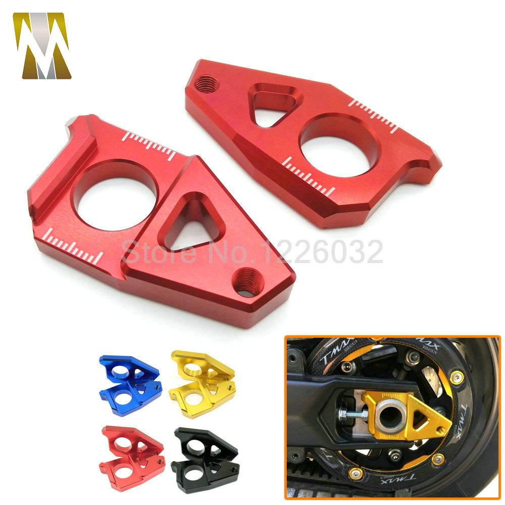 High Quality Motorcycle CNC Aluminum Rear Axle Spindle Chain Adjuster Blocks Fit for Yamaha TMAX 530 500 цена