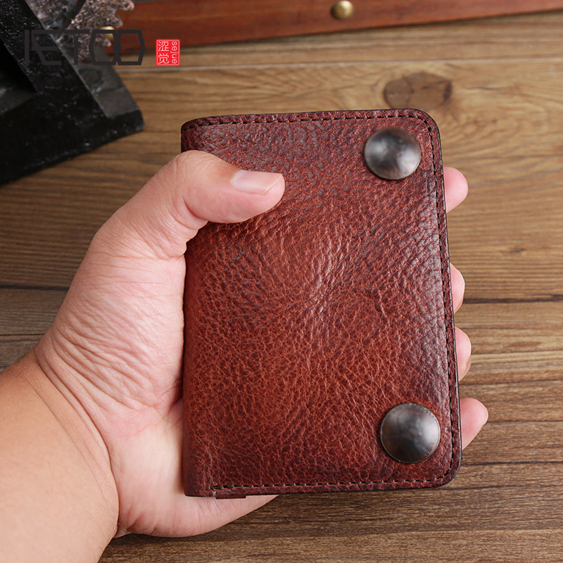 AETOO Retro handmade leather wallet young men multifunctional money clip can put driver s license casual