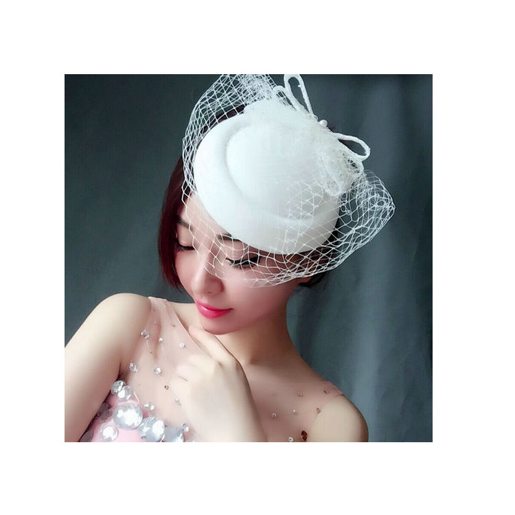 b7656aff84e560 Handmade Design Ivory Veil Top Hat Vintage Lace Bowler Pearl Mesh  Fascinator Hair Clips For Women