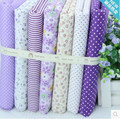7 unids/lote serie púrpura no repetir diseño encanto diy quilting patchwork textiles para muñeca de tela de paño del bebé 48*48 cm