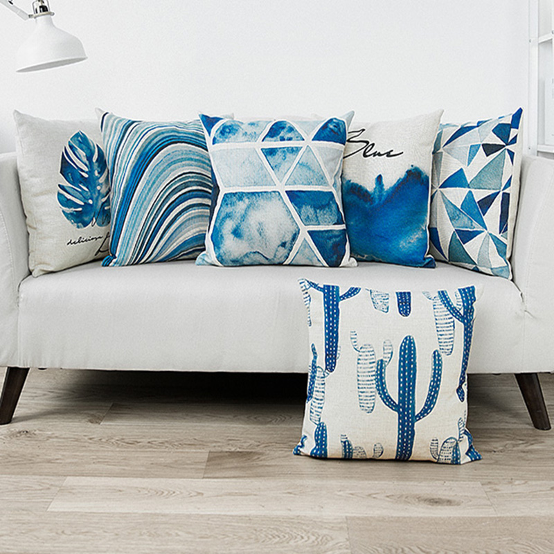 Vintage Blue Watercolor Cushion Cover
