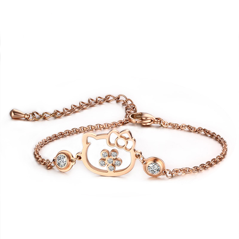 2019 Fashion Hot Sale Cat Head With Two Rhinestone Cz Rose Gold Color Stainless Steel Bracelets Buy One Get One Free