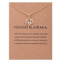 0c883ac51648 ZHIMO nuevo diseño de oro de plata de cadena corta buen Karma loto colgante  gargantilla Collar para las mujeres