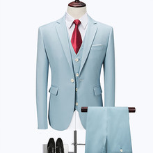 цены Men's blazers high-end custom wedding professional suit 3 sets / (suit + vest + pants) business casual large size M-6XL
