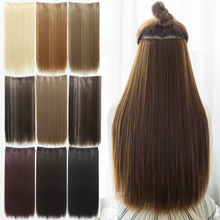 5 Clip 24″ Hair Extension Straight Clip in  Hair Extensions Pad Synthetic False Hair Styling Fashions Women Brown Natral Black