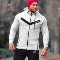 2018 Men Casual Hoodies Fitness Brand Clothing Camisetas Tracksuits Bodybuilding Sweatshirt Muscle Hoody Zipper Hooded Jackets