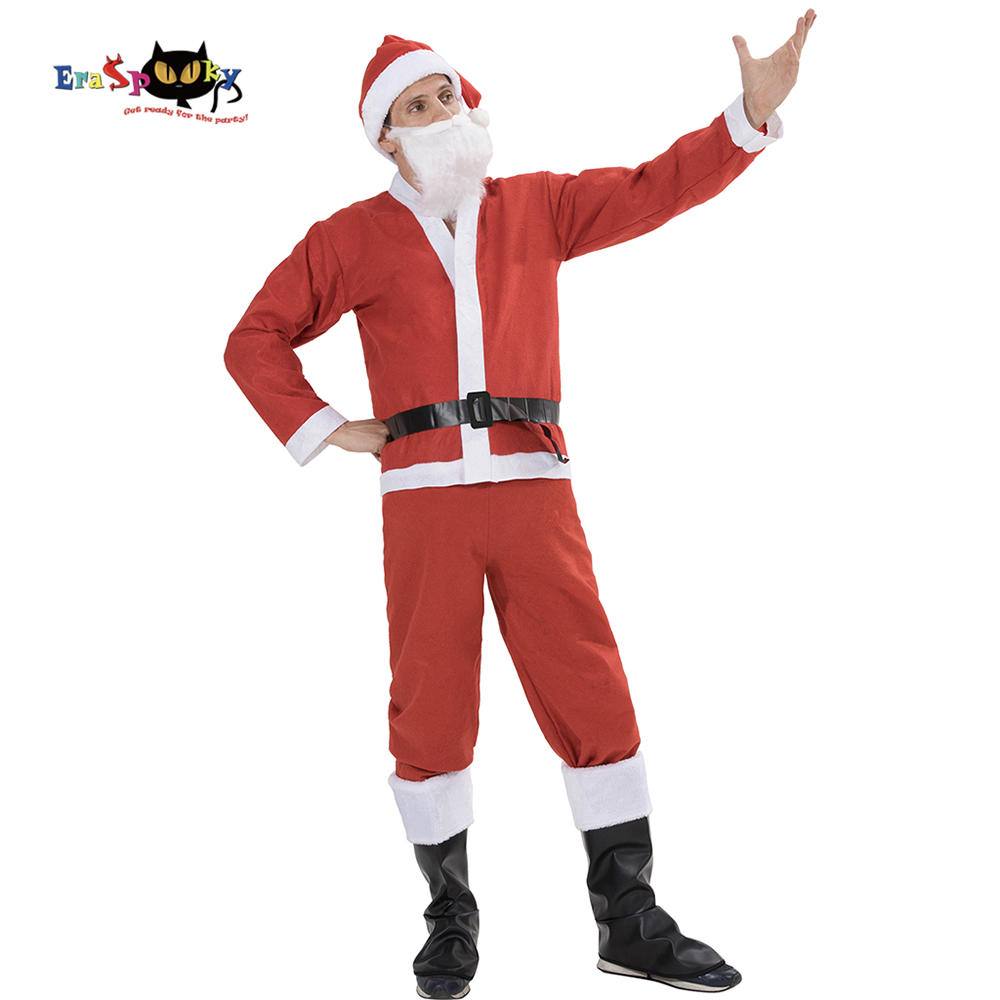 Eraspooky 2018 Cheap Red Santa Claus Costumes Adults Christmas Costume Men Carnival New Year Fancy Dress Xmas Set Cosplay Hat