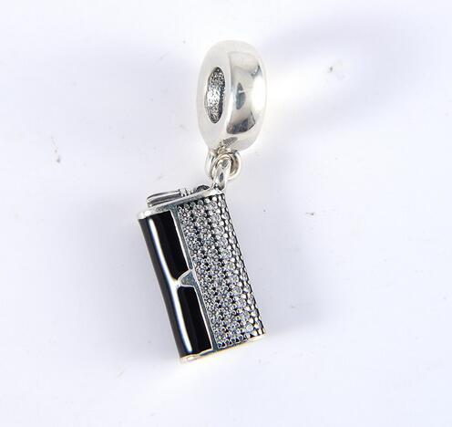 100%925 Sterling Silver Clutch Bag Dangle Charm,Black Enamel & Clear CZ Beads For Fit Pandora charms Bracelet Woman DIY Jewelry