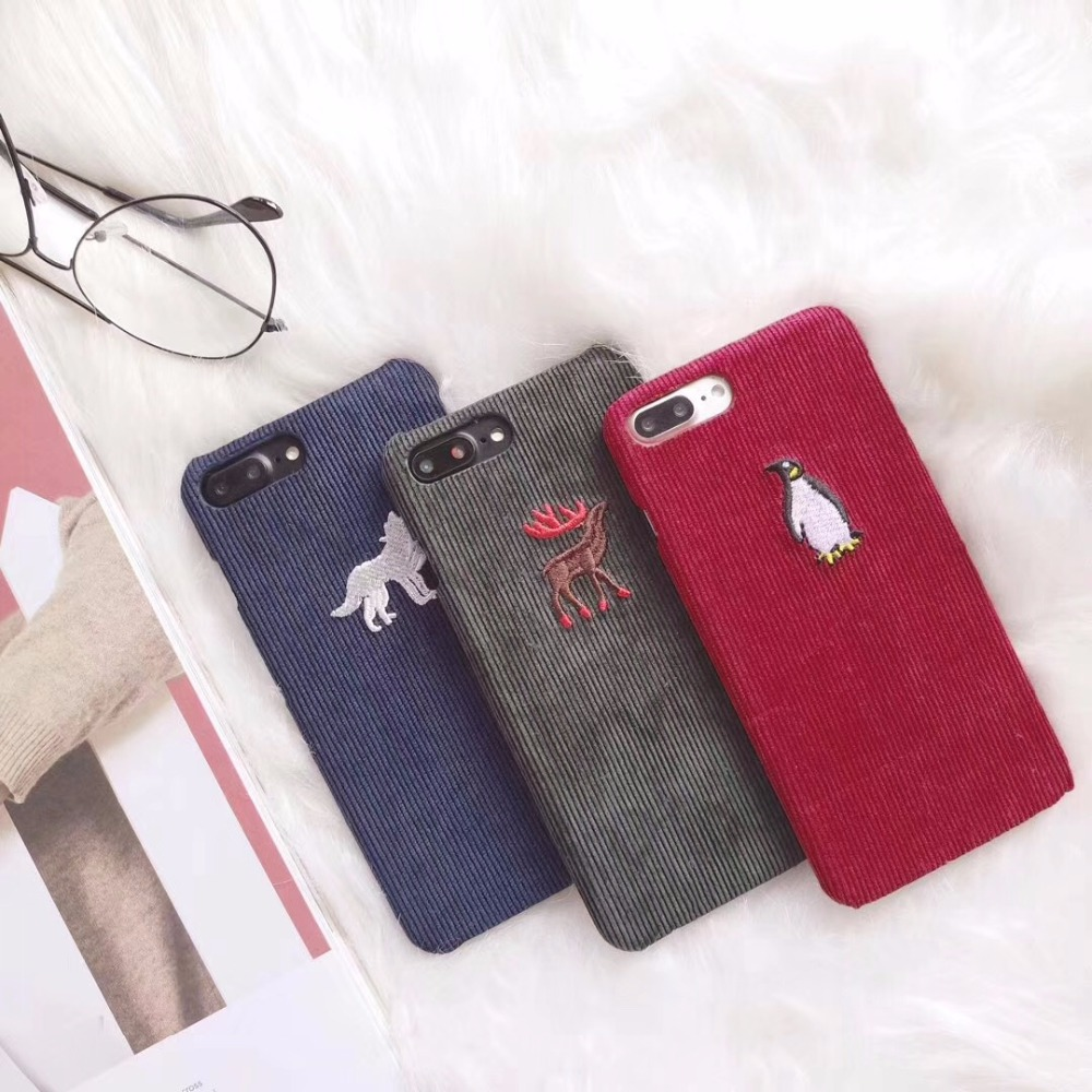 New Year Gift Cute Embroidery Phone Case Red 3d for iphone7 7Plus 8 8Plus 6 6plus 6splus hard corduroy fabric cloth Cover Case