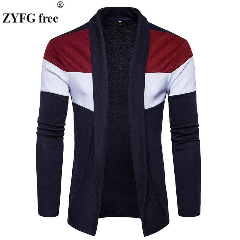 Nuevas llegadas suéter de punto casual para hombre cárdigan 2018 estilo primavera personalidad moda patchwork color prendas de punto tamaño de EE. UU.