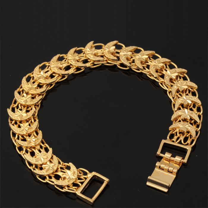 Aliexpress U7 Star And Moon Bracelet Women Men Jewelry Gold Color Fashion 13 Mm Wide Bracelets Chain Link H462 From Reliable