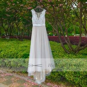 Image 2 - Mryarce plaża suknia ślubna Illusion dekolt koronkowe aplikacje Flowy tiul letnie sukienki suknie ślubne z guzikami