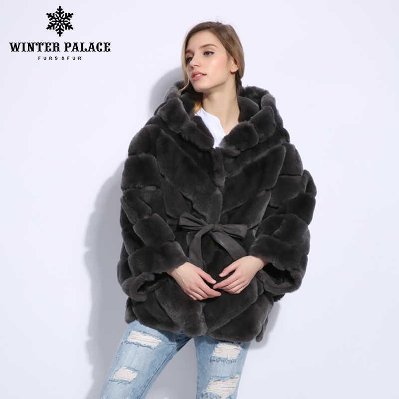 2018 Winter pelzmantel Mode neue rabblt pelzmantel Casual rex rabblt pelz mantel Solide echt rex rabblt pelzmantel oansatz WINTER PALACE
