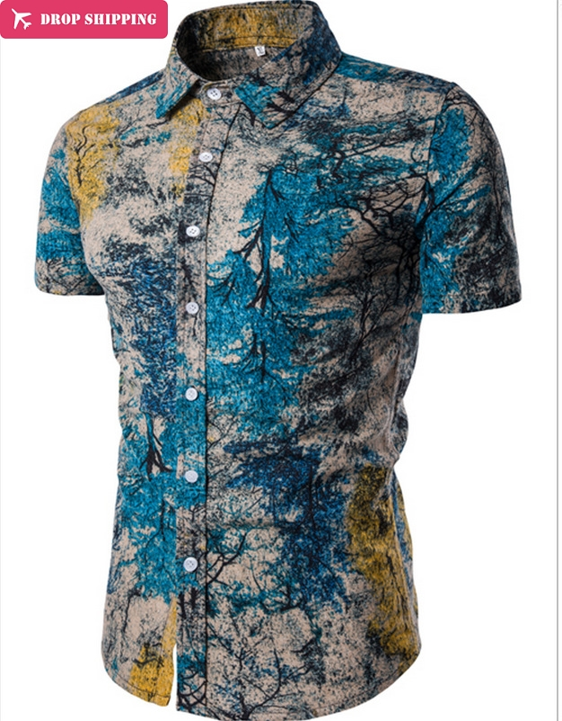 Mstyle Mens Beach Floral Print Plus Size Crown Short Sleeve Summer Button Down Dress Shirts
