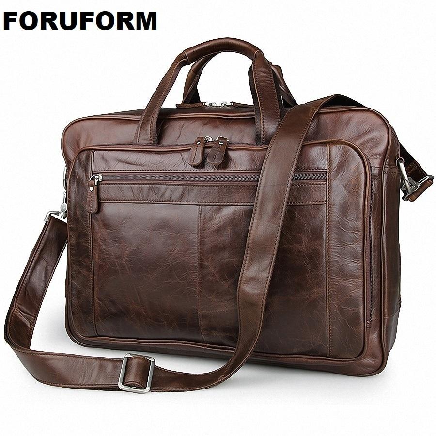 Men's Classic Briefcase Genuine Leather Business Office 17 Inch Laptop Bag Lawyer Handbag Portfolio Satchel Shoulder Bag LI-1266