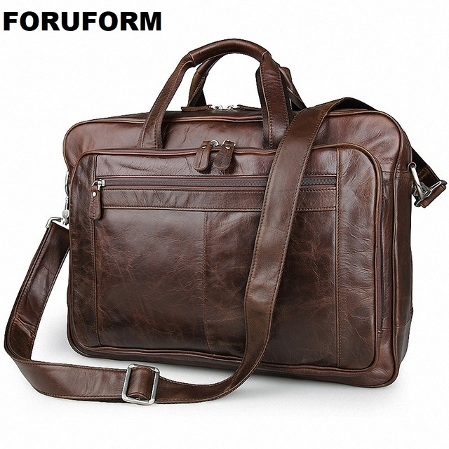 Men S Classic Briefcase Genuine Leather Business Office 17 Inch
