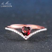 Lamoon 4 мм 0.3ct 100% натуральный сердце вырезать красный гранат кольцо стерлингового серебра 925 ювелирные изделия Романтический Обручальное LMRI003