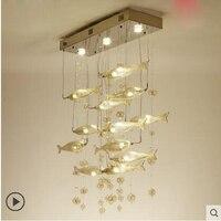 Простые современные бар гостиной лампа Ресторан светодиодный летучей рыбы освещение отель Творческий прямоугольные столовая хрустальная