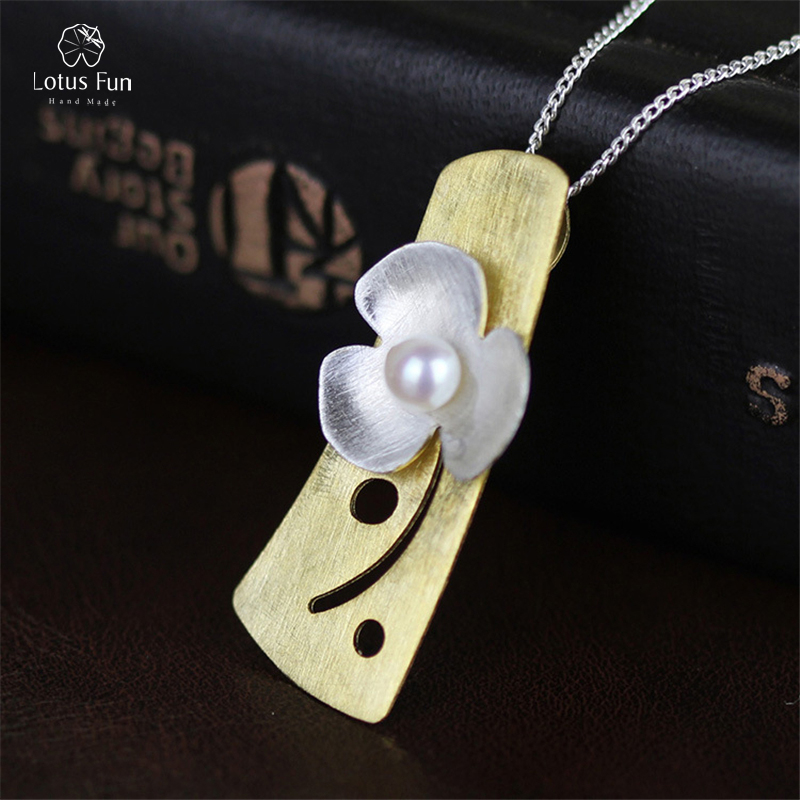 Real 925 Sterling Silver Pendant for Women White Cultured Pearl Handmade Clover Flower Pendant Fine Jewelry