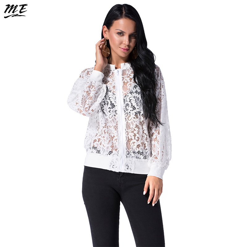 ME Lace Women   Basic     Jacket   Elegant Transparent Summer Beach Coats Casual Long Sleeve Zippers Bomber Outwear Hollow Out Coat