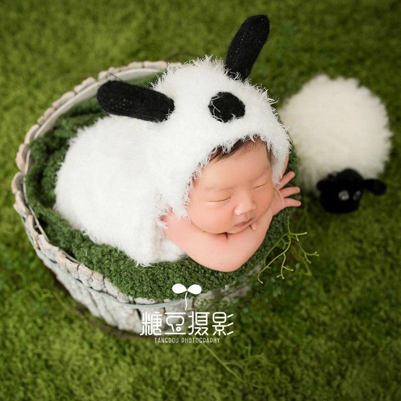 Cute sheep hat sleeping bag baby photography props soft plush lamb animal photo props infant fotografia studio photo accessories
