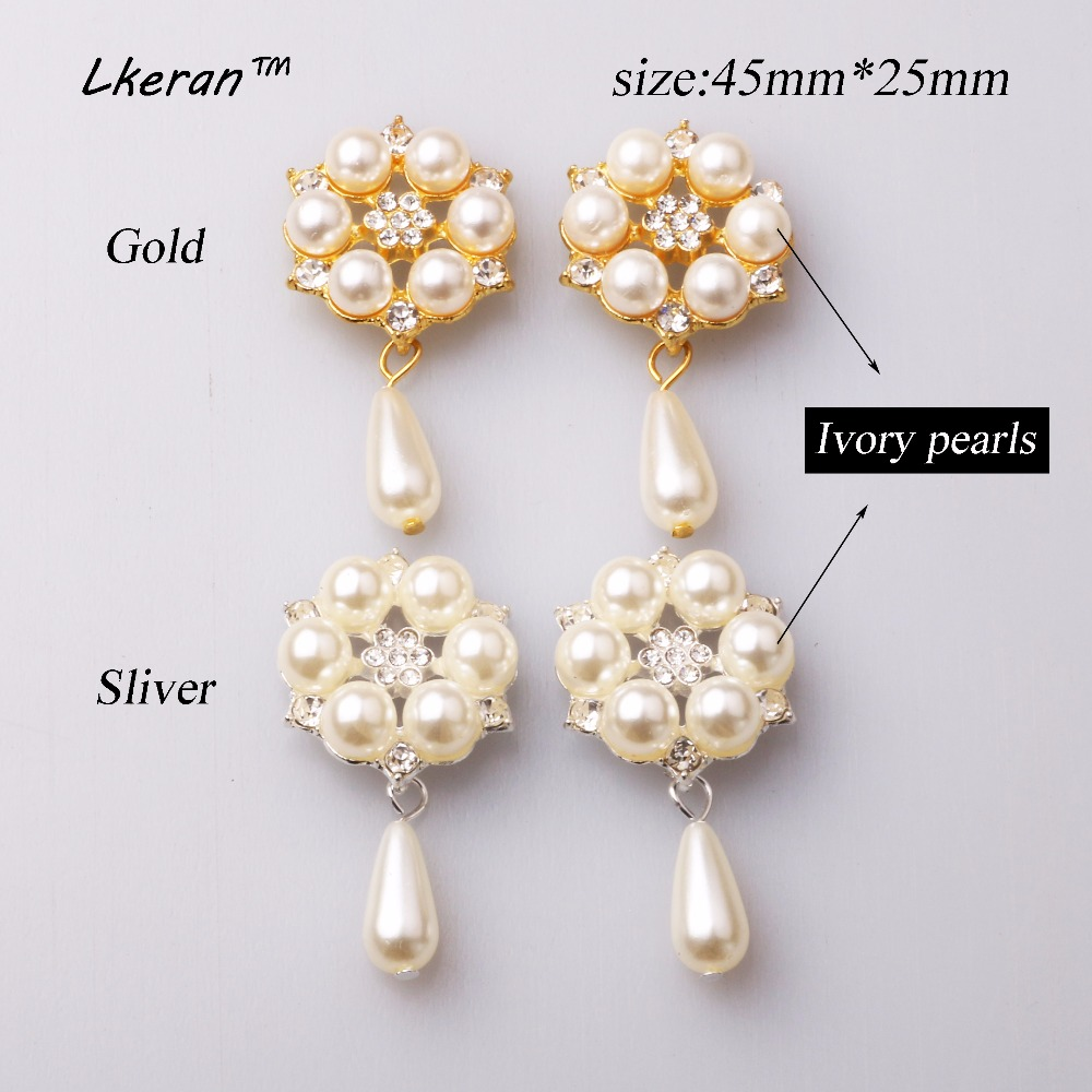 100pcs gold silver faux pearl Ivory Rhinestone buttons Flatback Brooch Embellishment Ribbon Decoration Free Delivery