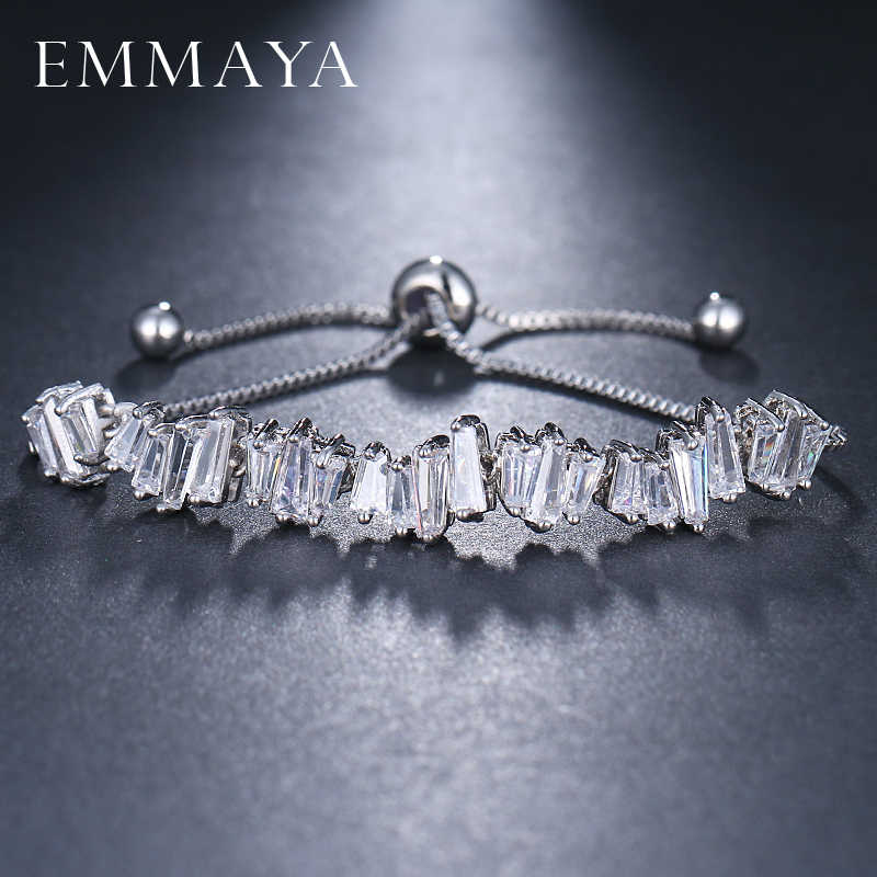 Emmaya Fashion Wanita Berlian Imitasi Cubic Zirconia Gelang Fashion Adjustable Gelang Perhiasan Bagus Gelang Hadiah