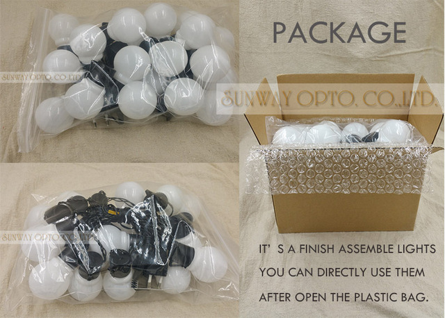 Novelty Outdoor lighting 5cm big size LED Ball string lamps Black wire Christmas Lights fairy wedding garden pendant garland