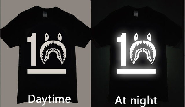 614f6dd68 10 YEARS SHARK TEE SHIRT 3M Reflective in the dark bape SHARK Hip Hop  Skateboard Street Cotton T-Shirts
