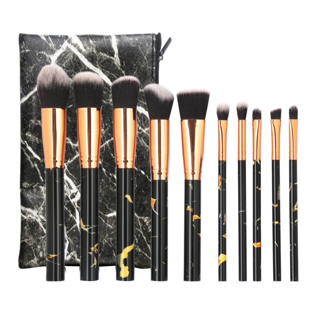 10Pcs Beauty Blash Brushes Set Foundation Powder Eyeshadow Marbling Handle Makeup Brush Tool Set with Bag