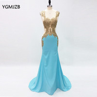 Backless Mermaid Evening Dresses Long 2017 With Embroidery Crystals Beaded Sexy Floor Length Formal Prom Evening